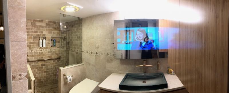 Mirror TV in bathroom