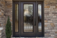 Provia custom door with sitelites and decorative glass