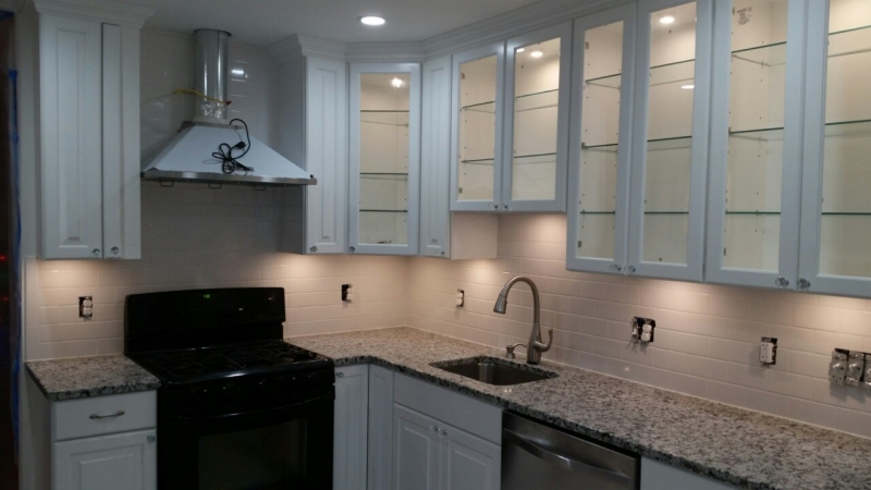 Glass cabinets with under lighting